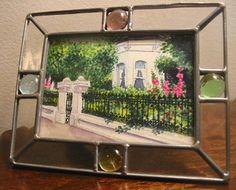 """ACEO-A133 """"Hollyhock House"""" watercolor 2.5x3.5"""" © Jillian Crider beautiful garden."""