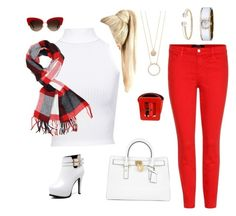 """""""Red & White"""" by jeana-deming-barnhart on Polyvore featuring J Brand, Caravelle by Bulova, David Yurman, Kate Spade, Michael Kors, WearAll, Dolce&Gabbana, Yves Saint Laurent and Achillea"""