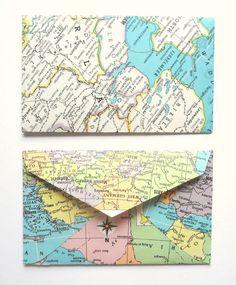 map envelopes mini stationery set of 12 via Etsy. Decorated Envelopes, Handmade Envelopes, Diy Pencil Case, Map Crafts, Fabric Envelope, Stationery Set, Stationary, Envelope Punch Board, Pretty Packaging