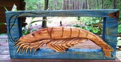 """Framed Shrimp sculpture 12""""x24"""" rustic shabby chic coastal living wall mount art beach cottage home decor wooden chainsaw shrimp carving by oceanarts10 on Etsy"""