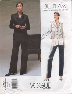 V2163 Sewing Pattern Vogue American Designer BILL BLASS Jacket Pants 8 10 12