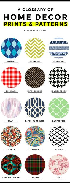 15 Common Home Decor Prints and Patterns: A Glossary of Terms - From the French formality of a toile pattern, to the difference between chevron and herringbone, here's a complete glossary of common ho(Mix Use Typology) Home Decor Bedroom, Diy Home Decor, Home Decor Fabric, Fabric Patterns, Print Patterns, Types Of Patterns, Clothing Patterns, Fabric Design, Pattern Design