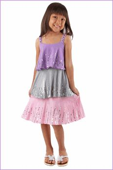 Haven Girl Tiered Sequined Pastel Colors Amanda Dress 10 14