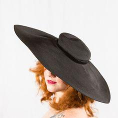 Poppycock Vintage vintage 1950s hat / wide brim hat / Lora. $156.00, via Etsy.