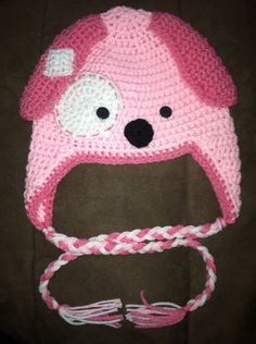 Crochet Pink Puppy Dog Earflap Beanie Hat - Etsy $15.00