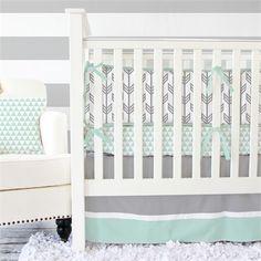 Mint & Gray Arrow Crib Bedding Set