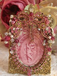 Vintage pink bow jeweled picture frame
