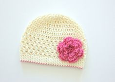 Little Girl Hat Baby Girl Flower Hat Toddler Hat by jobeththompson, $16.50