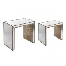 "LOT DE 2 TABLES GIGOGNES collection ""BOIS MIROIR"""