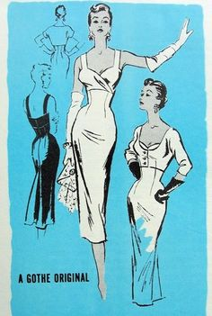 1950s SIZZLING EVENING COCKTAIL PARTY SHEATH DRESS PATTERN SURPLICE EMPIRE BODICE LOW NECKLINE, VERY FITTED FRONT, SHORTIE JACKET GOTHE ORIGINAL for PROMINENT DESIGNER PATTERNS 283