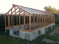 Greenhouse in larch with masonry base # Greenhouse # Larch # Masonry base #with #selfbuilt