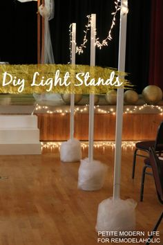 The perfect easy light stands for your next garden party, indoor wedding, or shower!