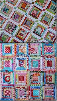 Scrappy log-cabin quilts by Melly and Me