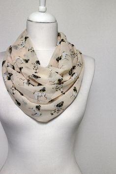 Pug Dog Pattern Chiffon Infinity scarf, Tube scarf, Circle scarf, Loop scarf, scarves, spring - summer - fall - winter fashion