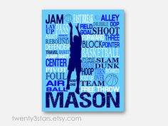 Basketball Typography Art Print, Perfect Sporty Boy's Room Art, You Choose the Colors, Makes a Great Gift for any Basketball Lover in Blue and White