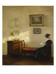 A Woman Reading in an Interior ~ Carl Holsoe (1863-1935)