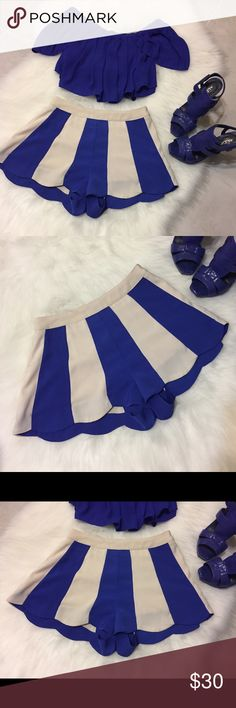 Flowy Shorts, blue and white. Size Small Beautiful shorts, almost mistaken for a skirt. Lovely bright blue and nude! Brand new. Shorts Skorts