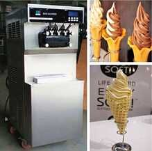 Soft ice cream machine. Complete stainless steel exterior housing for durability, sleek, and modern appearance. Expansion rate: 40%