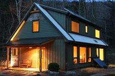 Plenty of south-facing glazing. One way to lower costs is to specify as many fixed windows as possible, since fixed windows cost less than operable windows. This passive solar home was designed by Springtime Homes of Asheville, North Carolina.