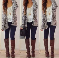 I love this whole outfit! I only have one long sweater like this but it's just gray. The pattern and colors are beautiful.