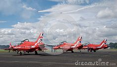 Red arrows on the ground at Farnborough airshow