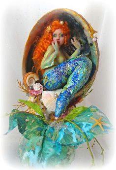 """Abalone Mermaid Art Doll 8"""" sculpture Polymer clay"""
