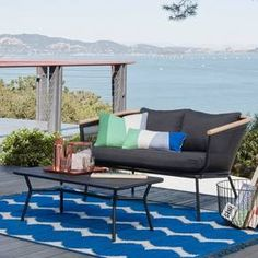 Bangor 2-Piece Metal Mesh and Faux-Wood Patio Loveseat and Coffee Table Set from Project 62 - Target