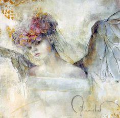 Beautiful paintings by German born artist Elvira Amrhein Angel Artwork, Angel Paintings, Mermaid Paintings, Art Paintings, Angel Drawing, I Believe In Angels, Modern Canvas Art, Angels Among Us, Photo Wallpaper