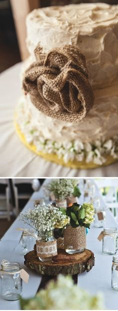 Country wedding centerpiece and wedding cake. Burlap flowers on the cake and tree slab, mason jars, and burlap for the centerpiece. | photographed by Bledsoe Photography