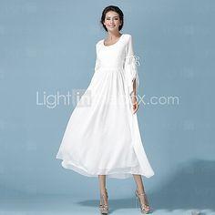 Vestito Da donna Maxi Spacco Rotonda Maniche a ¾ Chiffon - USD $44.99