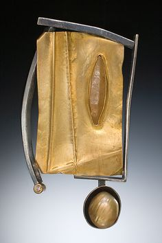 Folded Gold Brooch by Deborrah Daher: Gold, Silver, & Stone Brooch available at www.artfulhome.com