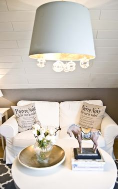 I really like these lamp shade lights...I just gotta do this for the dinning room!