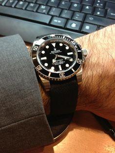 My Rolex Submariner with black nato strap.