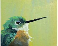Colibri numéro 1 5 x 5 reproduction d'Art - oiseau - Animal - Nature - jet d'encre - émincer Mockingbird