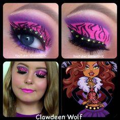 Monster High Clawdeen Wolf Makeup Look. YouTube channel: https://www.youtube.com/user/GlitterGirlC