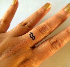 Aquarius Temporary Tattoo / Fake Tattoos / Finger Tattoos / Zodiac Sign