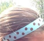 One Up Blue with Brown Polka Dots Non Slip Headband
