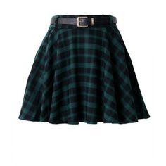 Green Plaid Belted Skater Skirt