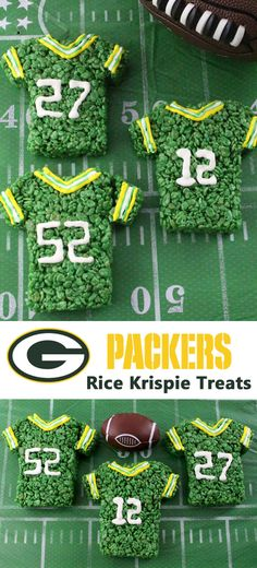 These Green Bay Packers Rice Krispie Treats Team Jerseys are a fun football dessert for a game day football party, an NFL playoff party, a Super Bowl party or as a special snack for the Green Bay Pack (Basketball Snacks) Team Snacks, Party Snacks, Soccer Snacks, Football Desserts, Football Treats, Football Parties, Football Food, Tailgate Parties, College Football