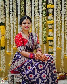 Bridal saree, bridal blouse ideas, designer blouse Saree Blouse Neck Designs, Half Saree Designs, Fancy Blouse Designs, Bridal Blouse Designs, Stylish Dress Designs, Indian Fashion Dresses, Indian Designer Outfits, Lehenga Saree Design, Indian Bridal Sarees