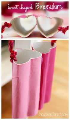 Heart Shaped Binoculars ~ Simple Valentine craft idea prefect for going on a heart hunt!