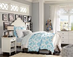 Teenage Girl Bedroom Ideas | Whimsy | PBteen - ditch the funky blue/white duvet, and add a cute quilt or throw at the foot of the bed
