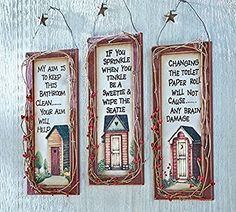 Set of 3 Outhouse Bathroom Etiquette Playful Humorous Saying Primitive Plaque Decoration by knl store
