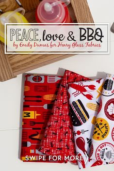 Peace, Love & BBQ by Emily Dumas for Henry Glass Fabrics is an adorable fabric collection just perfect for those who love to grill! 100% Cotton. Shop all kits available in Peace, Love & BBQ at www.shabbyfabrics.com! Shabby Fabrics, Peace And Love, Bbq, Holiday Decor, Glass, Shop, Cotton, Collection, Home Decor