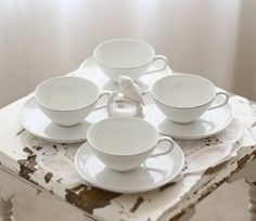 Vintage white coffee cups saucers Style House by TheGinghamOwl, $40.00
