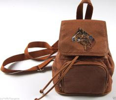 Horse Logo Brown Leather Backpack Purse Bag Everyday School Camp #TagMissing #BackpackStyle