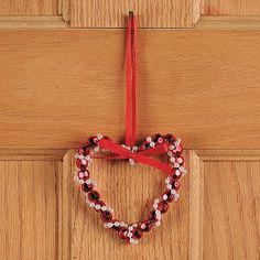 Beaded heart ornament.
