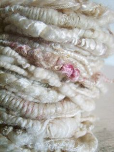 Hand spun yarn Coil Bulky Tattered White  by greybirdstudio