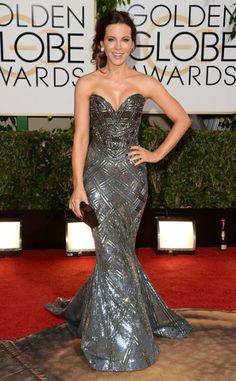 La hermosa Kate Beckinsale, en un straples de color plata de Zuhair Murad.