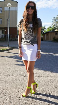 white denim skirt + neon pumps + graphic T